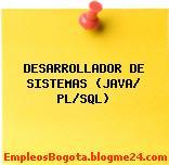DESARROLLADOR DE SISTEMAS (JAVA/ PL/SQL)