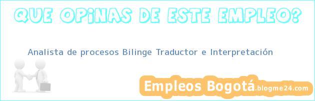 Analista de procesos Bilinge Traductor e Interpretación