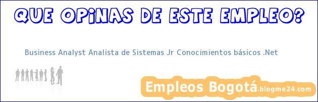 Business Analyst Analista de Sistemas Jr Conocimientos básicos .Net