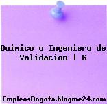 Quimico o Ingeniero de Validacion | G