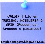 (V610) | Lic en TURISMO, HOTELERIA O AFIN (Pueden ser truncos o pasantes)