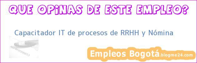Capacitador IT de procesos de RRHH y Nómina