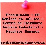 Presupuesto – RH Nominas en Jalisco – Centro de Enseñanza Técnica Industrial – Recursos Humanos