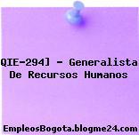 QIE-294] – Generalista De Recursos Humanos
