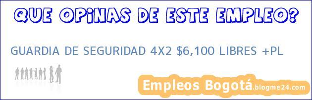 GUARDIA DE SEGURIDAD 4X2 $6,100 LIBRES +PL