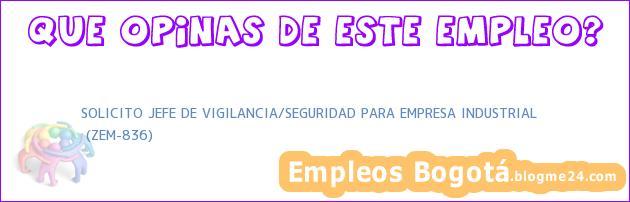 SOLICITO JEFE DE VIGILANCIA/SEGURIDAD PARA EMPRESA INDUSTRIAL | (ZEM-836)