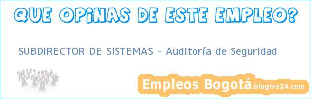 SUBDIRECTOR DE SISTEMAS – Auditoría de Seguridad
